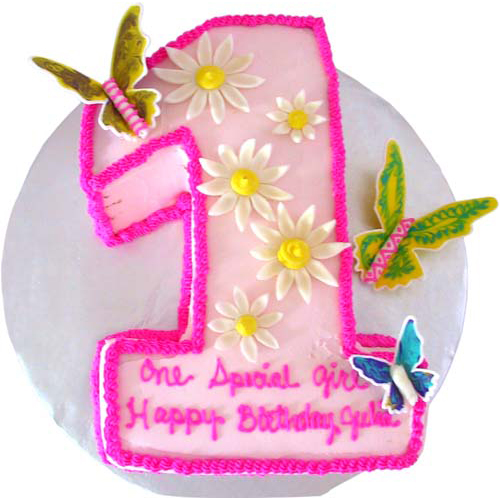 Pink Butterfly Theme Cake