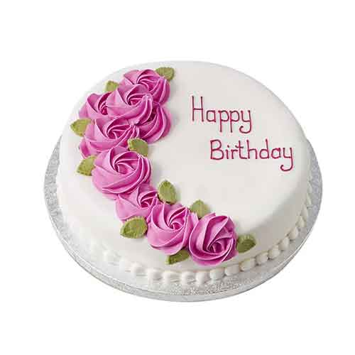 White N Round Birthday Cake