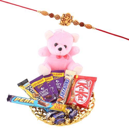 Shree Ganesha Rakhi Cute Teddy Chocolate Hamper