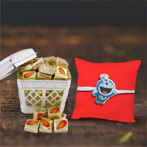 Doremon Rakhi for Kids With Almond Choco Pack