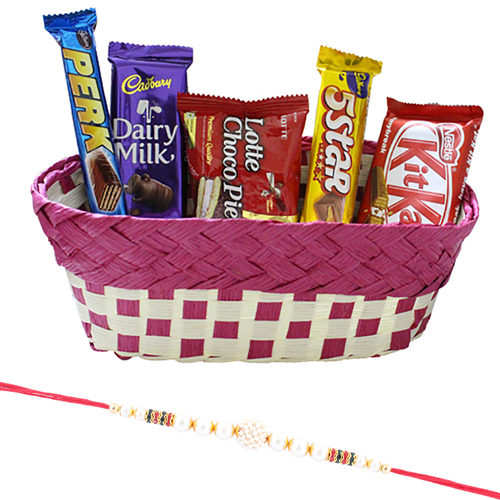 Pearl Rakhi with Assorted Chocolate Hamper
