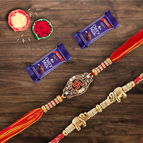 Pair of Two Divine Rakhis With Dairymilk Chocolate