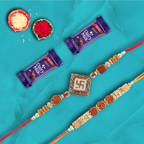 Set of 2 Divine Rakhis With Dairymilk Choco Combo