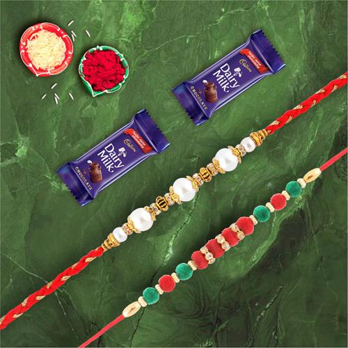 Lovely Pearl & Velvel Rakhi With Dairymilk Chocolate