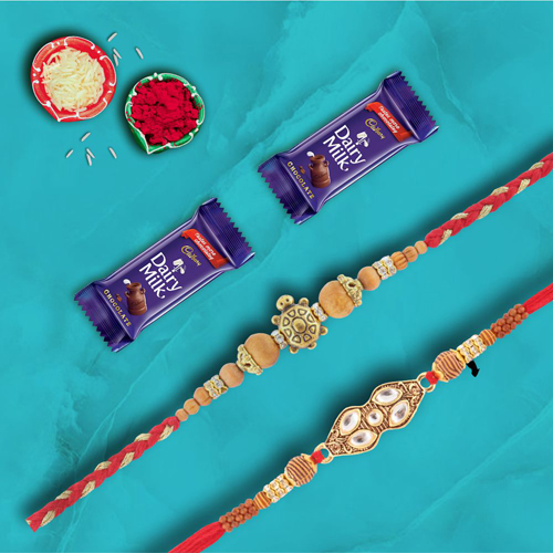 Pair of 2 Designer Rakhis With Dairymilk Choco Combo