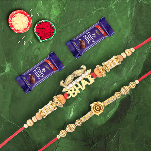 Rose Gold & Mustache Bhai Rakhi With Dairymilk Chocolate