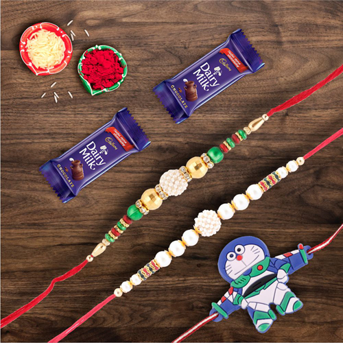 Dairymilk Chocolate With Set of 3 Kids and Pearl Rakhi