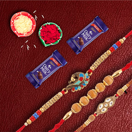 Set OF 3 Premium Rakhis with Dairymilk Choco Combo2