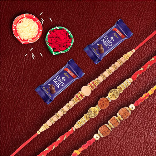 Dairymilk Chocolate With set of 3 Rudraksh & Pearl Rakhis