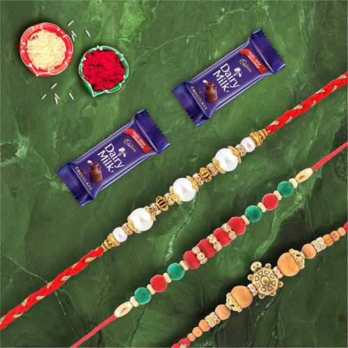 Dairymilk Choco Combo With Set of 3 Velvet Pearl & Tortoise Rakhi