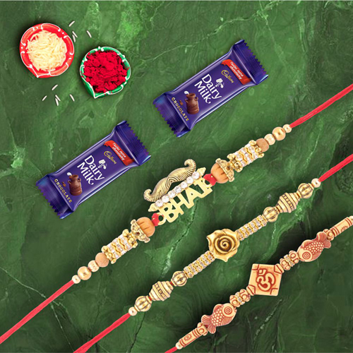 Set of 3 Rakhis Mustache Bhai Rose Gold & Om With Dairymilk Choco
