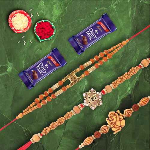 Set of 3 Rakhis Divine Om Veera Shree Ganesha With Dairymilk Chocolate