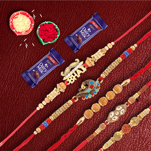 Set of 5 Designer Rakhis With Dairymilk Chocilate