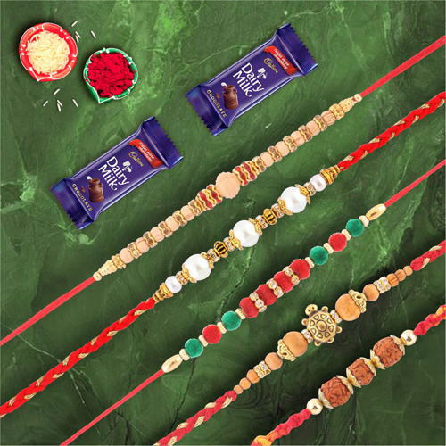 Auspicious Collection of 5 Rakhis with Dairymilk Chocolate