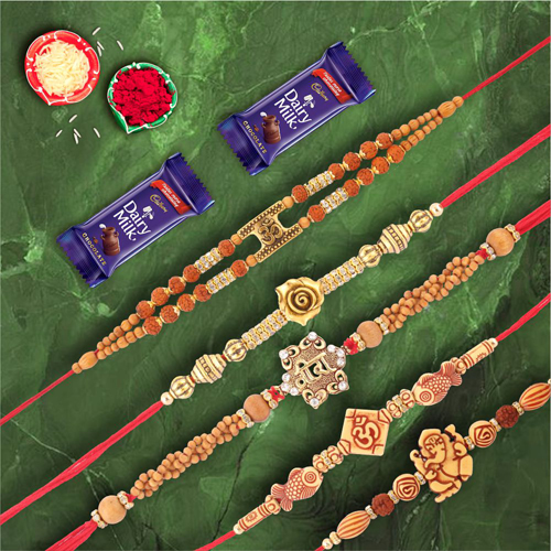 Charming Collection Set of 5 Rakhis with Dairymilk Chocolate