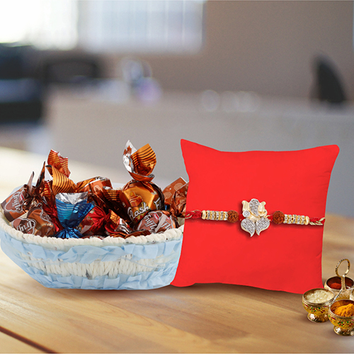 Lord Ganesha Diamond Rakhi Nut Chocolate Hamper