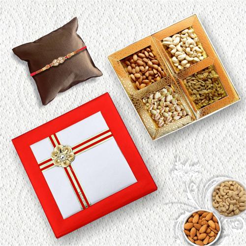 Elegant Diamond Rakhi With Designer Dryfruit Box