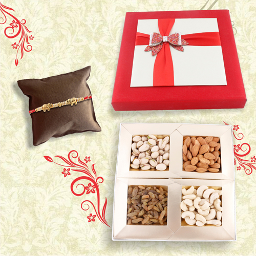 Elephant Rakhi With Dry Fruit Combo