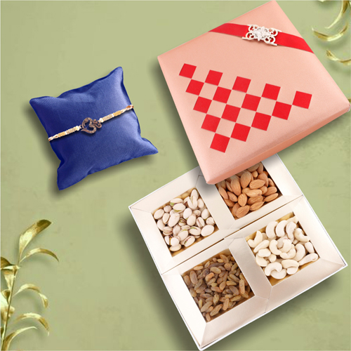 Spiritual OM Rakhi With Beautiful Dry Fruit Hamper