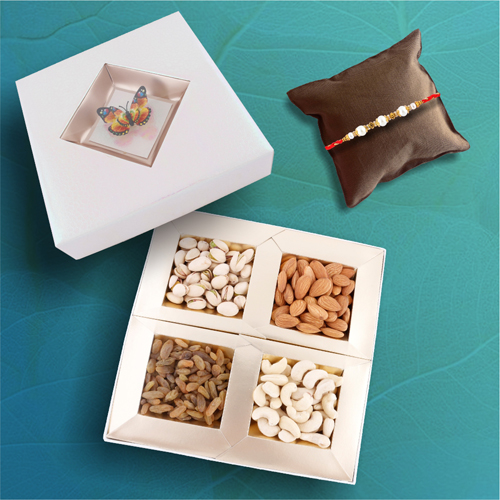Crystal Pearl Rakhi With Butterfly Dry Fruit Box