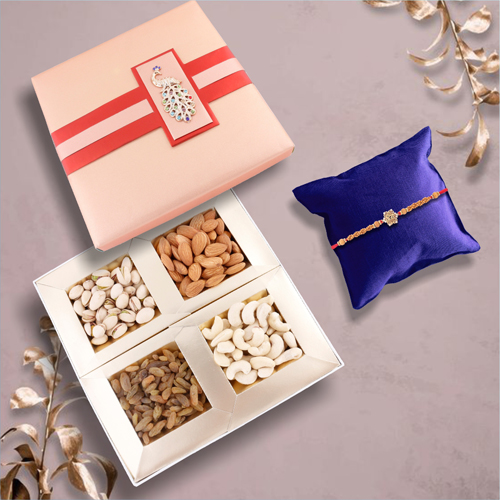 Veera Rakhi For Loving Brother With Dry Fruit Combo